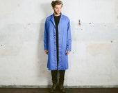 Vintage WORK Jacket . French Style Mens German Long Chore Coat 80s Medium Blue Canvas Parka Mens WORKWEAR 1980s Work Clothes . Large XL
