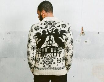 Vintage 70s HANDKNIT Sweater . Mens Beige Cowichan Sweater Jumper Pullover Wool 1970s Black Beige Mens Clothing . sz Small Medium Large