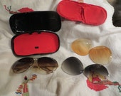 1980s  XL 500  hipster aviator sunglass with 3 separate interchangeable   GLASS  lens- , Amber, Yellow.smokey