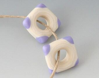 Southwest Square Pair - (2) Handmade Lampwork Beads -  Cream, Lavender - Etched, Matte