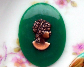 Vintage Cameo Cabochon Raised Victorian Style Jewelry Making 30x40mm NOS. #1594A