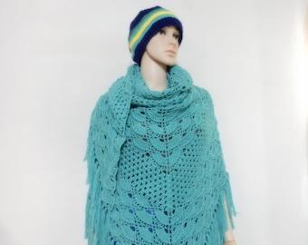 Crochet shawl in Light Green