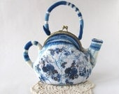 Felted  teapot  purse , Blue white polka dot, Blue teapot , Felt purse , Cosmetic bag , Felt teapot , original purse