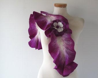 Felted scarf ruffle collar purple ruffle scarf women scarf  scarf by GalaFilc