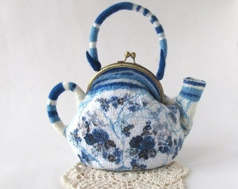 Felted  teapot  purse , Blue white flower, Blue teapot , Felt purse , Cosmetic bag , Felt teapot , original purse