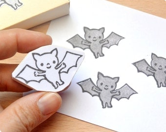 Halloween bat cute hand carved rubber stamp set