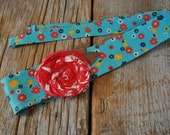 Headwrap Headband // Floral Blue and Red Rose // Fabric Headband