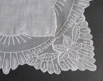 Linen Hankie Wide French Tambour Lace Edge Bridal Wedding