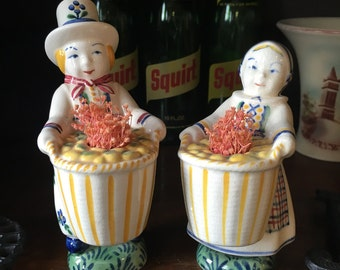 Pair of Boy & Girl Figurines with Baskets - Jus - Denmark - Danish Royal Copenhagen Porcelain (Item: NR-169)