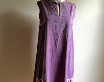 60s Delhiwala Handmade Cotton Indian Tunic Dress • Rare Indian Dress • Vintage Worn • S to M