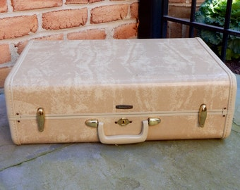 50s Samsonite Suitcase Hard Shell Tan Marble Vintage Boho Gypsy Original Labels Latches Perfect for Hasty Getaway Storing Prized Possessions