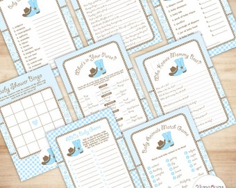 Package Shower Games Cowboy Baby Shower Games Package, Country Western Baby Shower Games Printable 8 Games, Light Blue Paisley Gingham