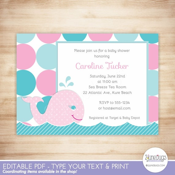 Pink whale baby shower invitation nautical baby girl shower mod il570xn filmwisefo