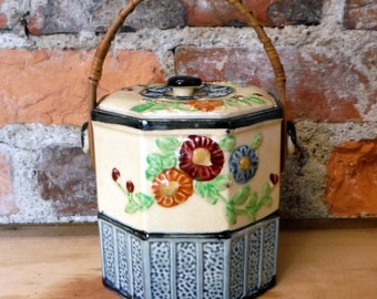 Antique Cookie Biscuit Tea Jar Wicker Rattan Handle Vintage Japan 8-SIDED Canister