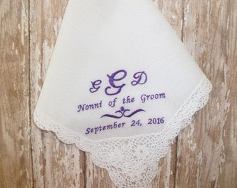 Grandmother of the Bride or Grandmother of the Groom MONOGRAM Wedding Hankerchief-Personalized Cotton Lace Hanky