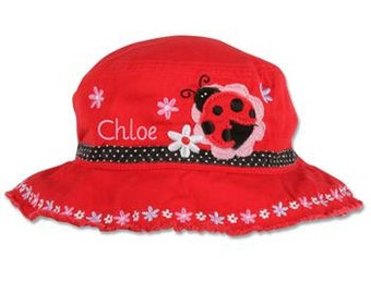 Personalized Stephen Joseph LADYBUG Bucket Hat Personalized Toddler Bucket Hat Embroidered Sun Hat Custom Toddler Hat