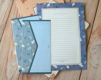 Floral Blue Indigo cartoon writing paper & envelopes letter set