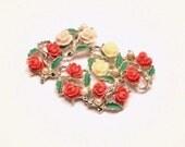 Vintage Coral Rose Destash Cottage Garden Jewelry Pieces for Crafts