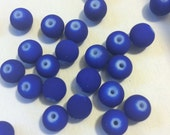 8mm Royal Blue Rubberized Beads - Acrylic Bracelet Beads Matte - 50 Beads
