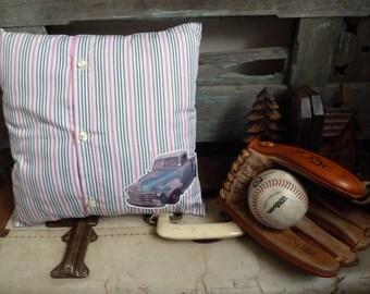 Vintage Metallic Blue Truck Transfer on Pink, Black & White Stripe Fabric, OOAK Small Cushion, Boy's Throw Pillow, Statement Cushion