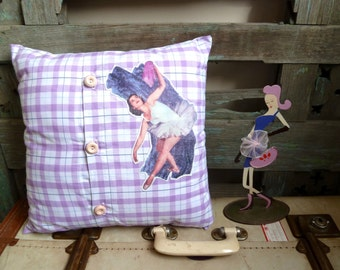 Handmade Appliqued Original Vintage Ballerina Transfer on Purple Check Fabric, OOAK Small Cushion, Girly Throw Pillow, Statement Cushion