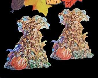 DENNISON Vintage Thanksgiving Holiday Wall Decorations Corn Stalks Pumpkins