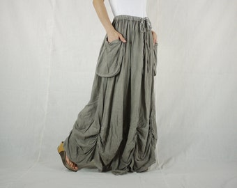 PLUS SIZE SKIRT...Bring Me To The Moon - Steampunk Maxi Flare Taupe Cotton Skirt With Ruching Detail Around Bottom Hem