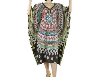 V Neck Bohemian Muticolor Printed Dark Brown Light Muslin Cotton Kaftan Dress With Burgundy Pom Pom Women Tops Dress Oversize Dress