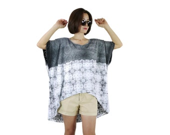 Boho Oversize Plus Size Women Top - Wide Scoop Neck Dusty Charcoal Grey Printed & Tie Dyed Cotton Jersey Short Front Long Back Tee Tunic