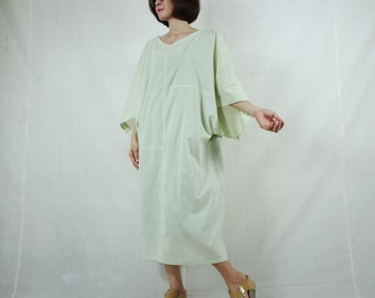 Boho Casual Elegant Plus Size /4 Sleeve Drop Shoulder V Neck Azo Free Color Pale Green Light Cotton Dress With Lining - SM688
