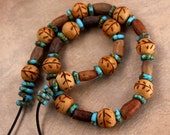 Old Mali Clay and Carved Wood Bead Necklace Earthy Rustic Clay Beads Wood Beads w Leaf Design Aqua Recycled Glass Discs African Jewelry