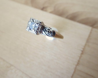 14k White and Yellow Gold Diamond Engagement Ring - Antique Jewelry Hand Estate Mid Century Victorian Art Deco 1920s Engagement