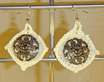Cotton Thread Crochet Convertible Bead Dangle Earrings -  Handmade
