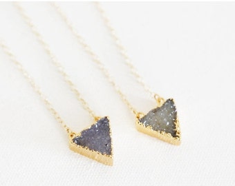 Valentines Day Sale Simple Triangle Druzy Necklaces - Natural Druzy and 14k Gold Fill Necklaces - TwoColor Choices