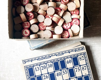 Vintage Bingo Cards and Numbered Wooden Game Pieces