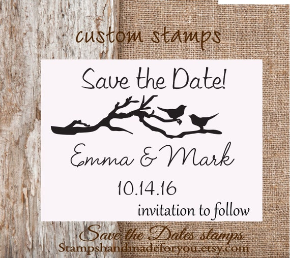 Birds of love Save the Date Rubber Stamp , DIY Bride Wedding Invitation birds in a branch stamp Personalize with Names and Date