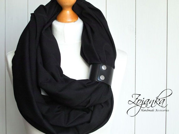 LARGE Infinity SCARF Shawl Loop with leather clasp/cuff bracelet, BLACK oversized infinity scarf, cotton scarf, tube scarf, plain scarf