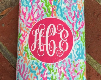 Monogramed Flasks painted in a Lilly Pulitzer inspired pattern