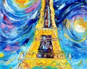 Original oil painting Paris Eiffel Tower Starry Night Romance abstract palette knife impressionism on canvas fine art by Karen Tarlton