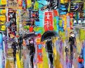 Original oil painting Shinjuku Tokyo Japan Evening Bustle palette knife impressionism on canvas fine art by Karen Tarlton