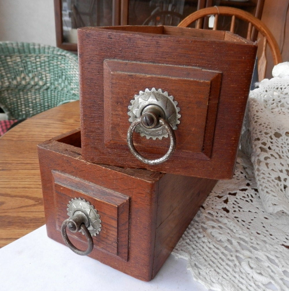 1 Antique Oak Sewing Machine Drawer With Original Ring Pull