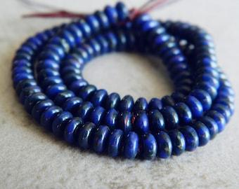Cobalt Blue & Picasso Czech glass donut beads, Rondelle glass beads, Cobalt Blue with rustic Picasso finish, 4mm glass beads (100pcs) NEW
