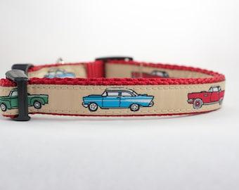 Classic Cars Dog Collar - 5/8, 3/4 or 1 inch wide - boy dog collar - cars dog collar - red dog collar - trucks dog collar - masculine dog