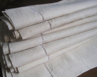 "XL vintage French pure linen sheet, ""fleur bleue"".  Fabulous bedding, curtain, blind, tablecloth, bedroom decor, upholstery"