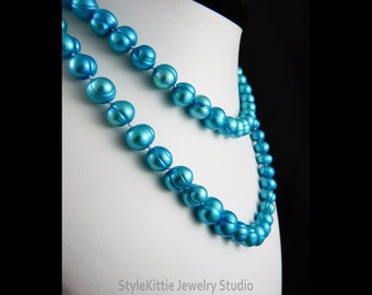 Aqua Blue, Cultured Freshwater Pearls, Silk Hand Knotted, 35 Inch, Rope Length, Layered Pearl Necklace, Layered Pearl Bracelet, Jewelry