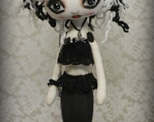 Siren TEMPEST Goth primitive folk art Doll OOAK Dark Mermaid Emo collectable