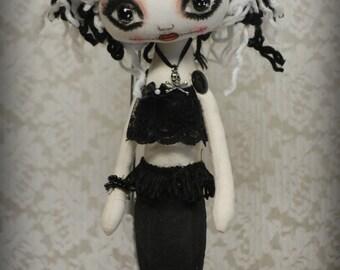 Siren TEMPEST Goth primitive folk art Doll OOAK Dark Mermaid Emo collectable