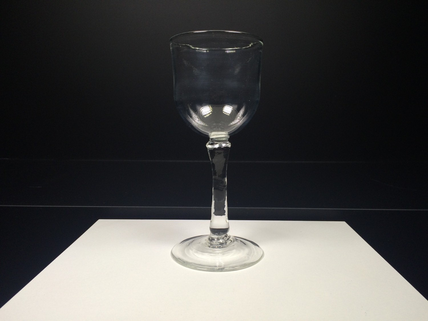 Hand blown wine glass tall goblet with ribbed stem clear for Thin stem wine glasses