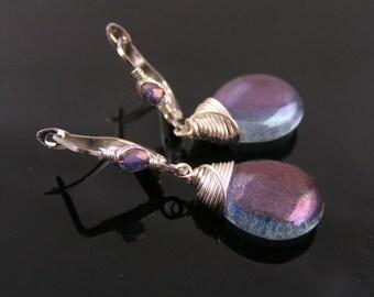 Wire Wrapped Earrings, Blue Earrings, Blue and Silver Earrings, Czech Glass Jewelry, Beaded Earrings, Drop Earrings, Pierced Ears