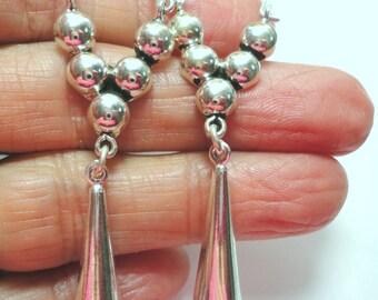 Solid Sterling Silver Dangle Drop Earrings Sterling Silver Long Dangle Hoop Closure Earrings with Solid Sterling Silver Teardrop Dangle
